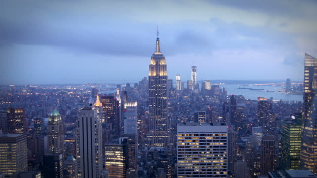 manhattan at night, new york - empire state building stock videos & royalty-free footage