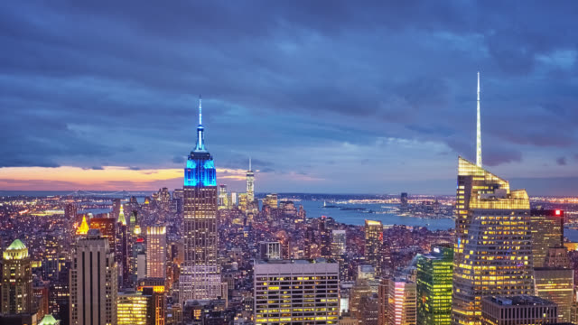 manhattan at night, new york - urban skyline stock videos & royalty-free footage