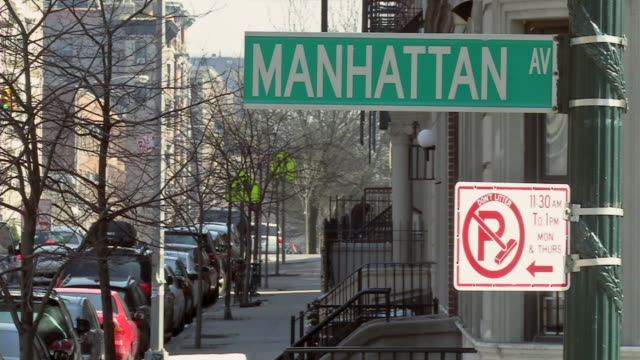 ms manhattan av street sign / new york, united states - bare tree stock videos & royalty-free footage
