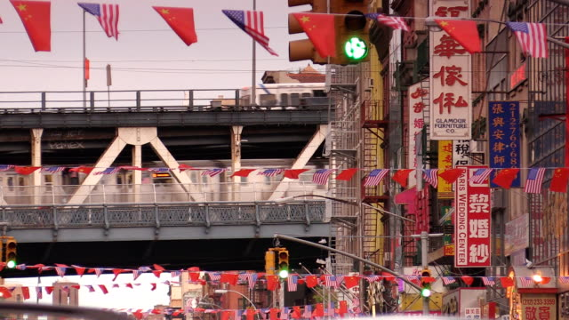 manhattan bridge chinatown in new york city - chinatown stock videos & royalty-free footage