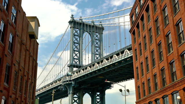 manhattan bridge. classic view - river east stock videos & royalty-free footage