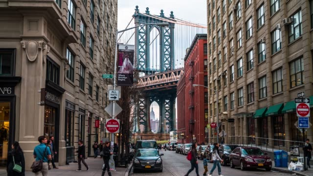 manhattan bridge, new york usa - brooklyn new york stock videos & royalty-free footage