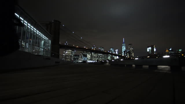 manhattan bridge night - one man only stock videos & royalty-free footage