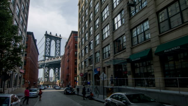 manhattan bridge over brooklyn - empire state building stock videos & royalty-free footage
