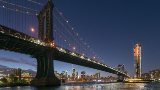 manhattan bridge panoramic time lapse - brooklyn bridge stock videos & royalty-free footage