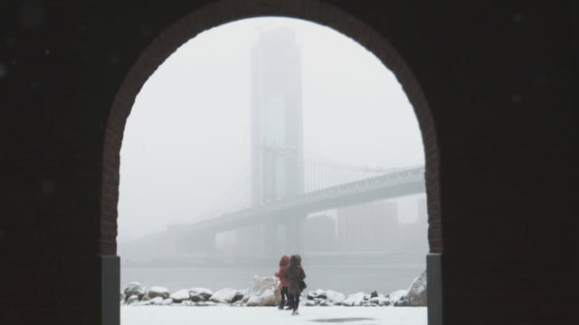 manhattan bridge pedestrians in a blizzard - cold temperature stock videos & royalty-free footage