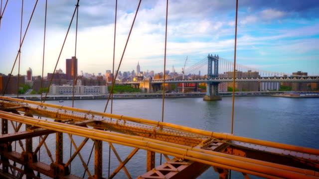 Manhattan Brücke durch Brooklynbridge und Empire State building Hintergrund
