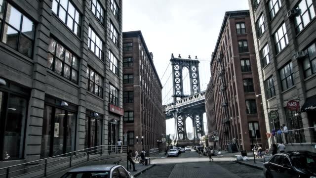 Manhattan bridge through buildings