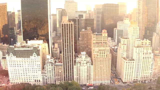 Manhattan buildings during sunset from above