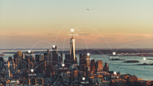 t/l manhattan city skyline and 5g network concept at sunset / nyc - manhattan stock videos & royalty-free footage