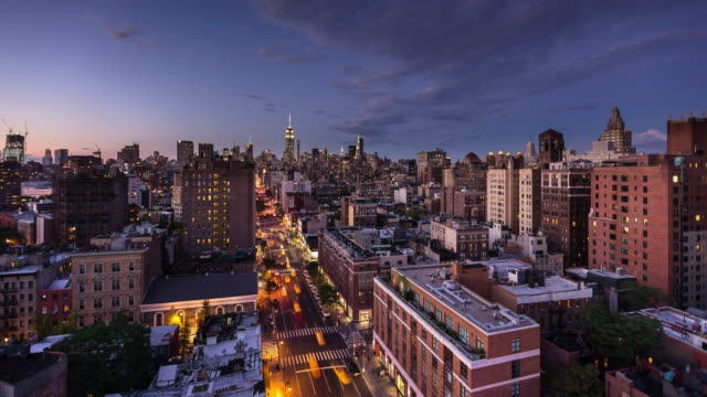 manhattan cityscape - day to night time lapse - day stock videos & royalty-free footage