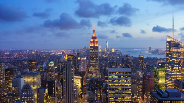 manhattan cityscape sunset. - empire state building stock videos & royalty-free footage