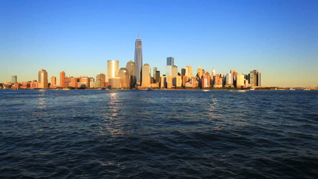 manhattan downtown skyline at sunset, hd video - panoramic stock videos and b-roll footage