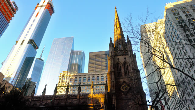 manhattan financial district. sky line. church. financial building - gothic style stock videos & royalty-free footage