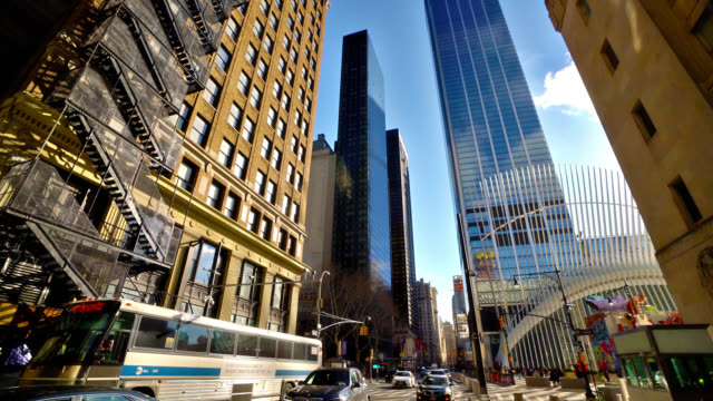 manhattan financial district. skyscrapers. financial building. residential house. - urban road stock videos & royalty-free footage