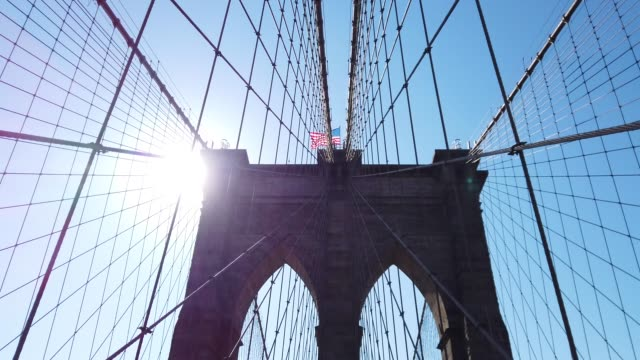 manhattan from brooklyn bridge - low angle view stock videos & royalty-free footage