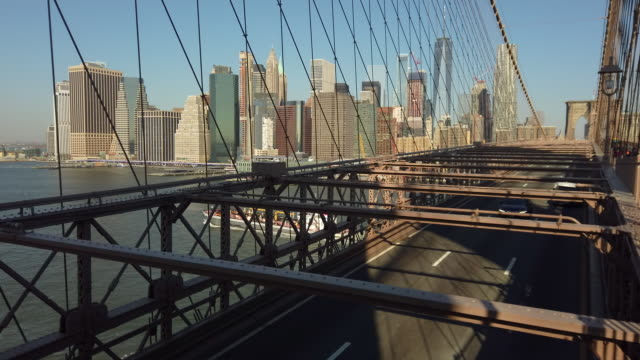 manhattan from brooklyn bridge - durability stock videos & royalty-free footage