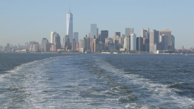 manhattan from staten island ferry, manhattan, new york city, new york, usa, north america - boat point of view stock videos & royalty-free footage