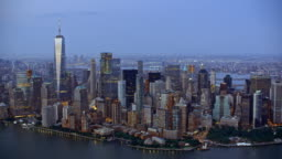 AERIAL Manhattan in the evening