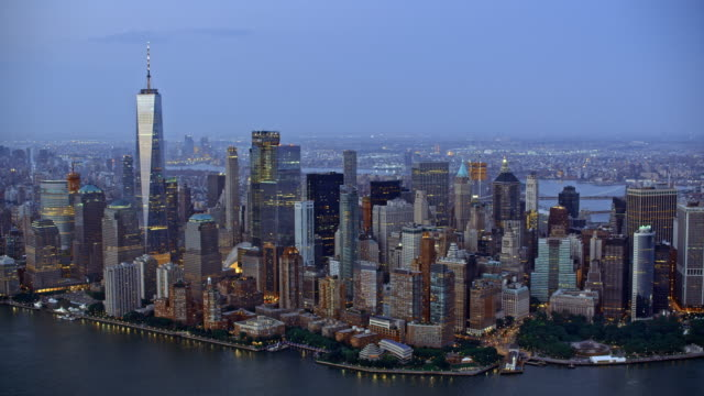 aerial manhattan in the evening - new york city stock videos & royalty-free footage