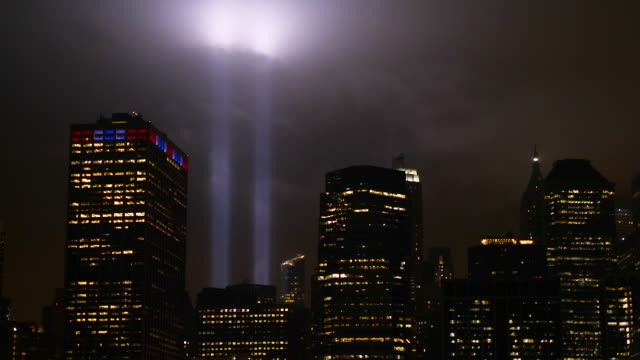 manhattan memorial panoramic view on towers of light 9/11 - world trade center manhattan video stock e b–roll