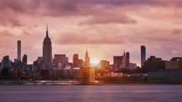 Manhattan midtown skyline sunset