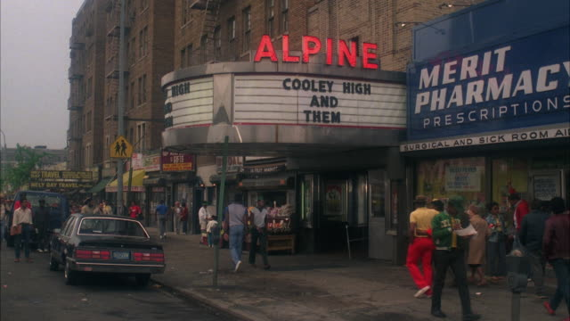 ws manhattan movie theater named 'alpine' / new york city, new york, usa - 1985 stock videos & royalty-free footage