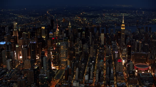 aerial manhattan, nyc at night - new york city stock videos & royalty-free footage