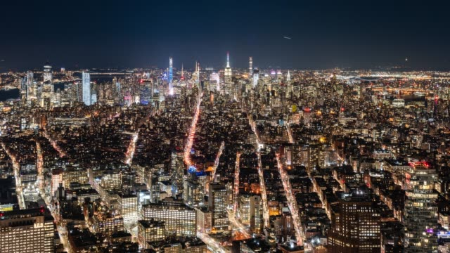 t/l ws ha zo manhattan skyline at night / new york city, usa - majestic stock videos & royalty-free footage