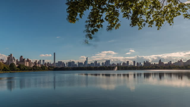 manhattan skyline from central park - central park reservoir stock videos and b-roll footage