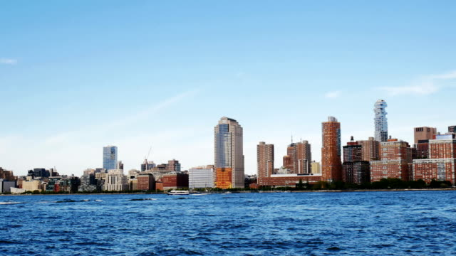 manhattan skyline on sunny day - from new jersey - clear sky stock videos & royalty-free footage