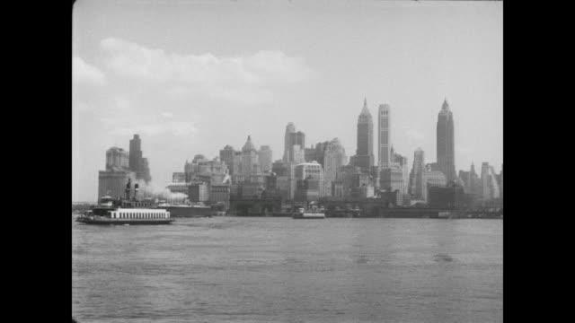 1954 ls of manhattan skyline - 1954 stock videos & royalty-free footage