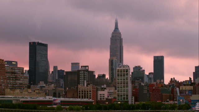 Manhattan Skyline with Clouds Obscuring the Empire State Building