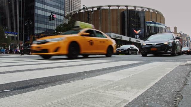 manhattan street scene near madison square garden - new york city penn station stock videos & royalty-free footage