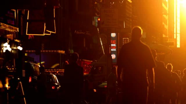 manhattan sunset street scene - twilight stock videos & royalty-free footage