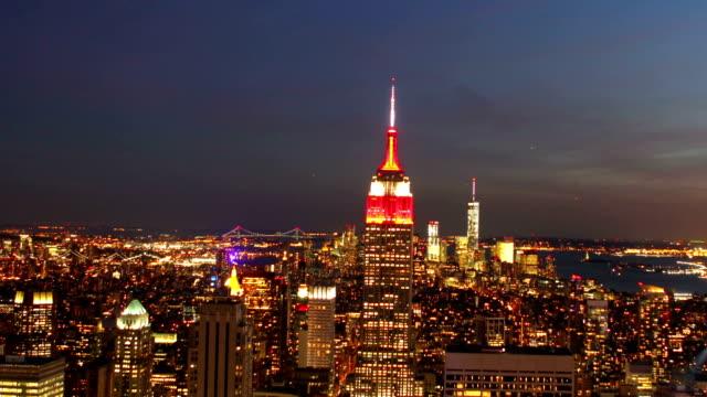 マンハッタンの夕日の眺め - エンパイアステートビル点の映像素材/bロール