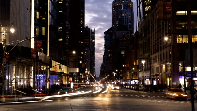 manhattan traffic timelapse - high street stock videos & royalty-free footage
