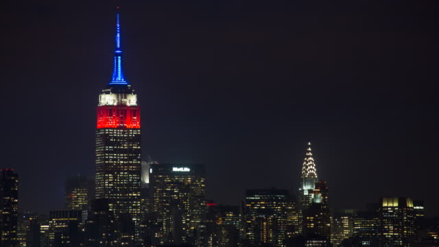 Manhattan, view of the Empire State Building and Midtown Manhattan across the Hudson River, New York, United States of America - Time lapse