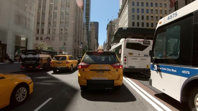 nyc manhattan xviii synched series front view driving studio process plate - fifth avenue stock videos & royalty-free footage