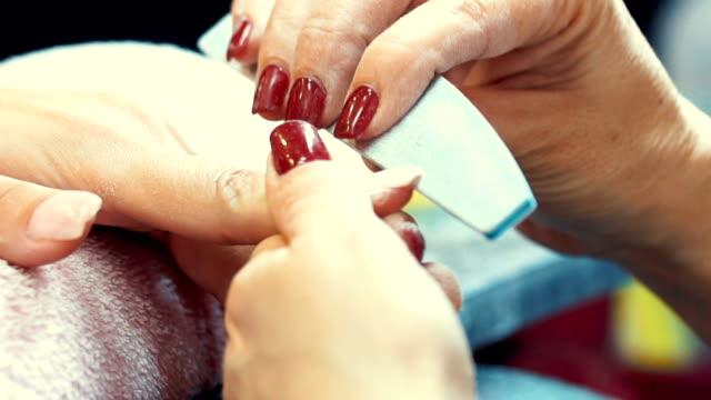 manicure procedure. - manicure stock videos & royalty-free footage
