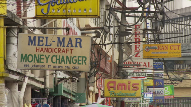 manila business street signs - manila philippines stock videos and b-roll footage