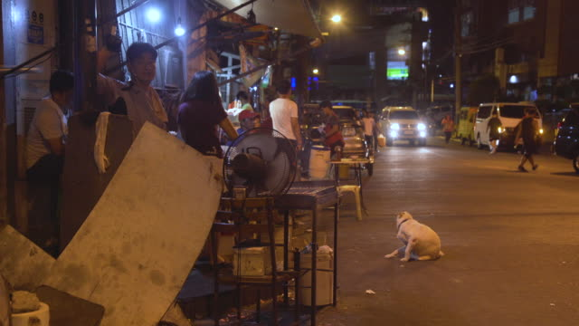 manila makati district at night. philippines - slum stock-videos und b-roll-filmmaterial