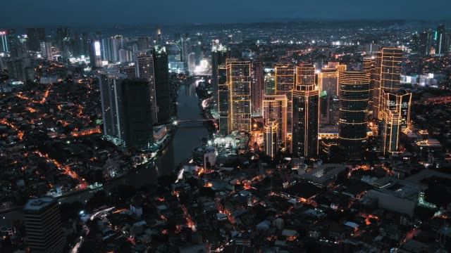 manila makati skyline, timelapse - filippine video stock e b–roll