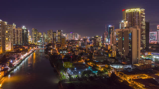 manila philippines makati hyoerlapse aerial shot of - geographical locations stock videos & royalty-free footage
