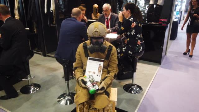a mannequin dressed in antifragment protective clothing sits with a dummy ied on day two of the dsei arms fair at excel on september 11 2019 in... - weaponry stock videos & royalty-free footage