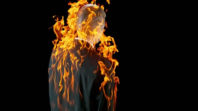 slo mo ld mannequin in a male business suit caught on fire - man made object stock videos & royalty-free footage