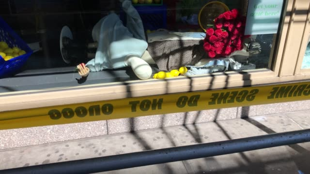 mannequin lies in broken glass at american eagle outfitters in the soho district of manhattan on june 01, 2020 in new york city. cleaning and... - american eagle outfitters stock videos & royalty-free footage