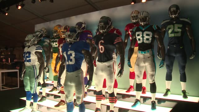 WGN Mannequins Wearing Various NFL Teams' Uniforms at NFL Draft Day in Chicago on April 27 2016