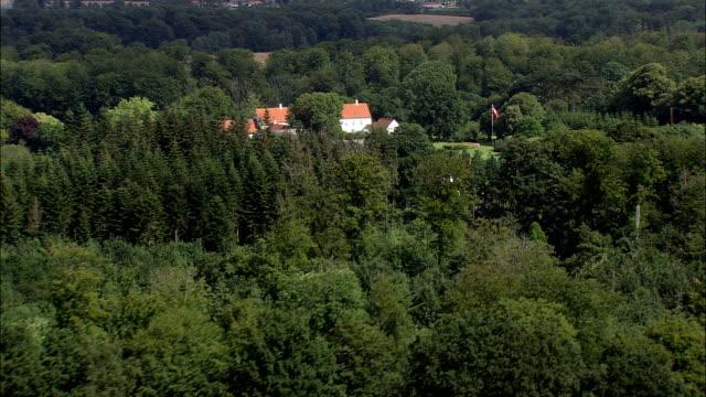 manor house near logten  - aerial view - central jutland,  århus kommune,  denmark - sports period stock videos & royalty-free footage