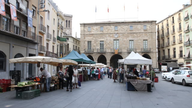 manresa plaza major - market stall stock videos and b-roll footage